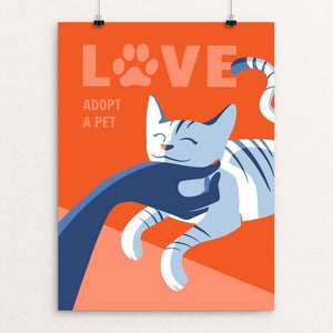 "Love Is Adopting a Pet by Janie Kliever 12"" by 16"" Print / Unframed Print Creative Action Network"