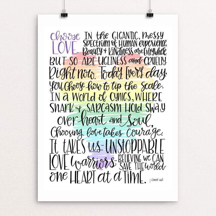 "Love Manifesto by J Clement Wall 18"" by 24"" Print / Unframed Print Creative Action Network"