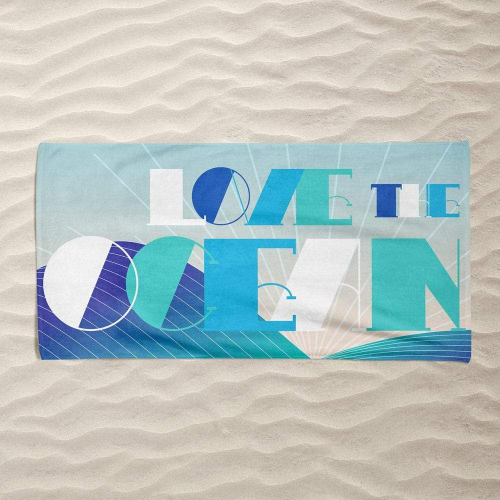 Love the Ocean by Trevor Messersmith Beach Towel Ocean Love
