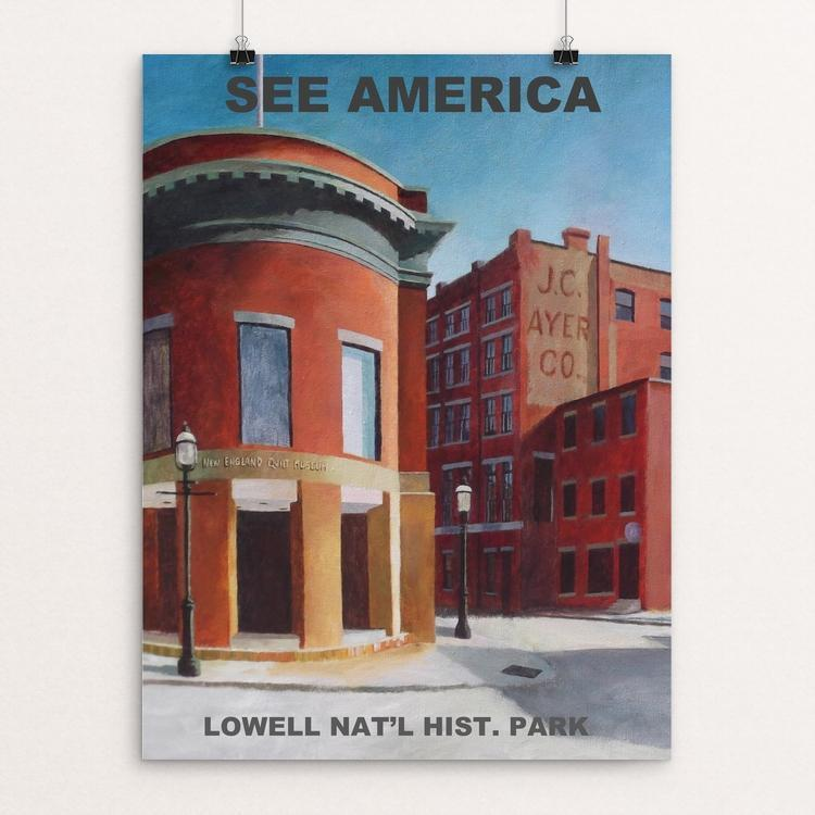 "Lowell National Historical Park by Claire Gagnon 12"" by 16"" Print / Unframed Print See America"