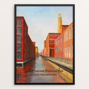"Lowell National Historical Park by Linda Demers 12"" by 16"" Print / Framed Print See America"