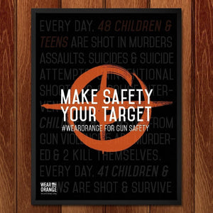 "Make Safety Your Target by Andi Burger 12"" by 16"" Print / Framed Print Wear Orange"