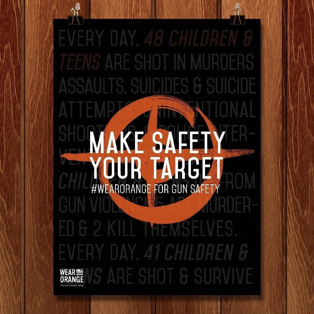 "Make Safety Your Target by Andi Burger 12"" by 16"" Print / Unframed Print Wear Orange"