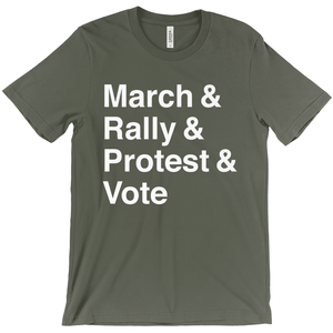 March, Rally, Protest and Vote Men's T-Shirt by Aaron Perry-Zucker Army / Extra Small (XS) T-Shirt Creative Action Network