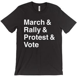 March, Rally, Protest and Vote Men's T-Shirt by Aaron Perry-Zucker Black / Extra Small (XS) T-Shirt Creative Action Network