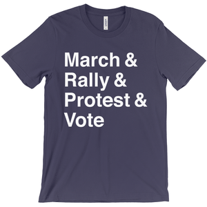 March, Rally, Protest and Vote Men's T-Shirt by Aaron Perry-Zucker Navy / Extra Small (XS) T-Shirt Creative Action Network