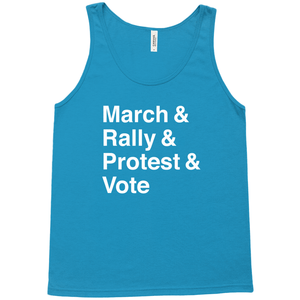 March, Rally, Protest and Vote Tank Top by Aaron Perry-Zucker Neon Blue / Extra Small (XS) Tank Top Creative Action Network