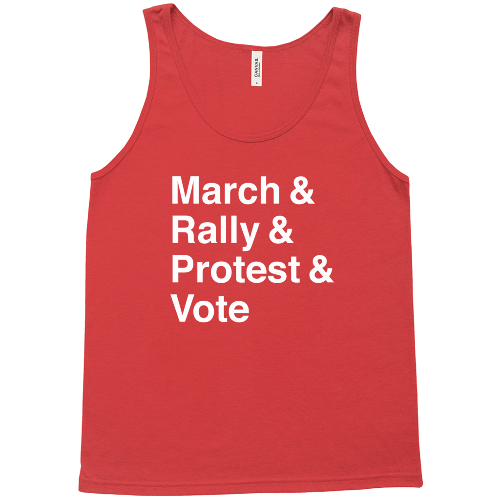 March, Rally, Protest and Vote Tank Top by Aaron Perry-Zucker Black Heather / Extra Small (XS) Tank Top Creative Action Network
