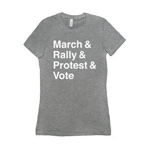 March, Rally, Protest and Vote Women's T-Shirt by Aaron Perry-Zucker Dark Grey Heather / Small (S) T-Shirt Creative Action Network