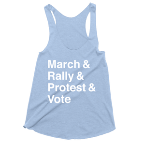 March, Rally, Protest and Vote Women's Tank Top by Aaron Perry-Zucker Blue Triblend / Extra Small (XS) Tank Top Creative Action Network
