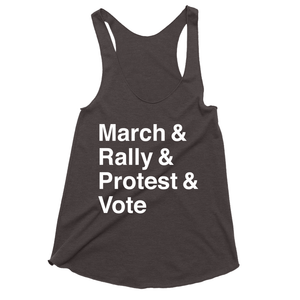 March, Rally, Protest and Vote Women's Tank Top by Aaron Perry-Zucker Charcoal Black / Extra Small (XS) Tank Top Creative Action Network