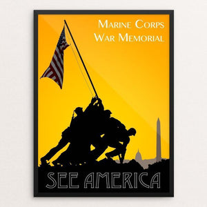 "Marine Corps War Memorial by Zack Frank 12"" by 16"" Print / Framed Print See America"