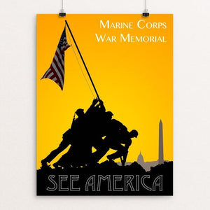 "Marine Corps War Memorial by Zack Frank 12"" by 16"" Print / Unframed Print See America"