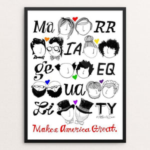 "Marriage Equality by Mark Addison Smith 12"" by 16"" Print / Framed Print What Makes America Great"