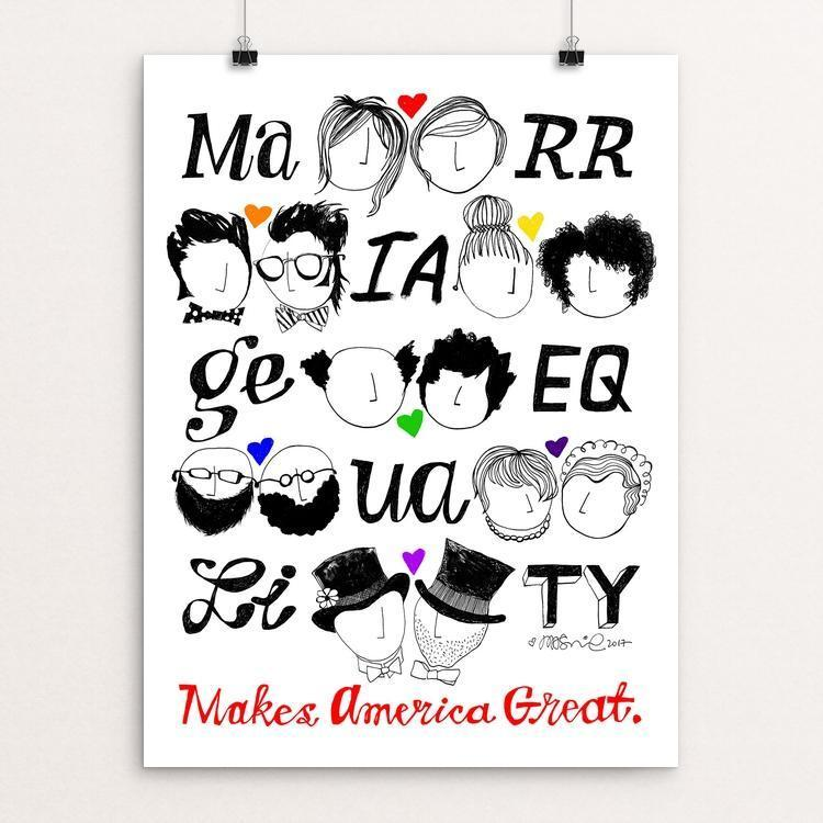 "Marriage Equality by Mark Addison Smith 12"" by 16"" Print / Unframed Print What Makes America Great"