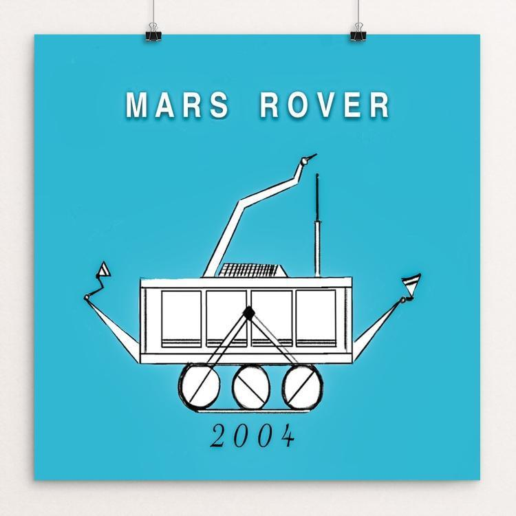 "Mars Rover Mission 2004 by Ginnie McKnight 12"" by 12"" Print / Unframed Print Space Horizons"