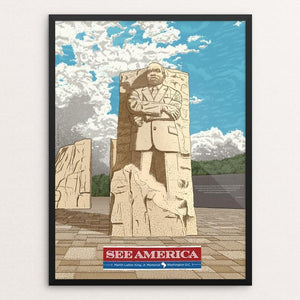 "Martin Luther King, Jr. Memorial by Brixton Doyle 18"" by 24"" Print / Framed Print See America"