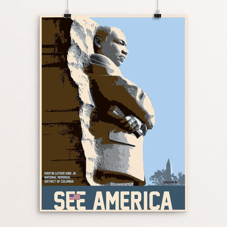 "Martin Luther King, Jr. Memorial by Yadesa Bojia 12"" by 16"" Print / Unframed Print See America"