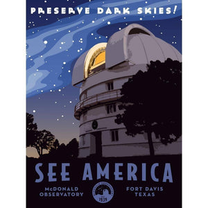 "McDonald Observatory by Aaron Bates 18"" by 24"" Print / Unframed Print See America"