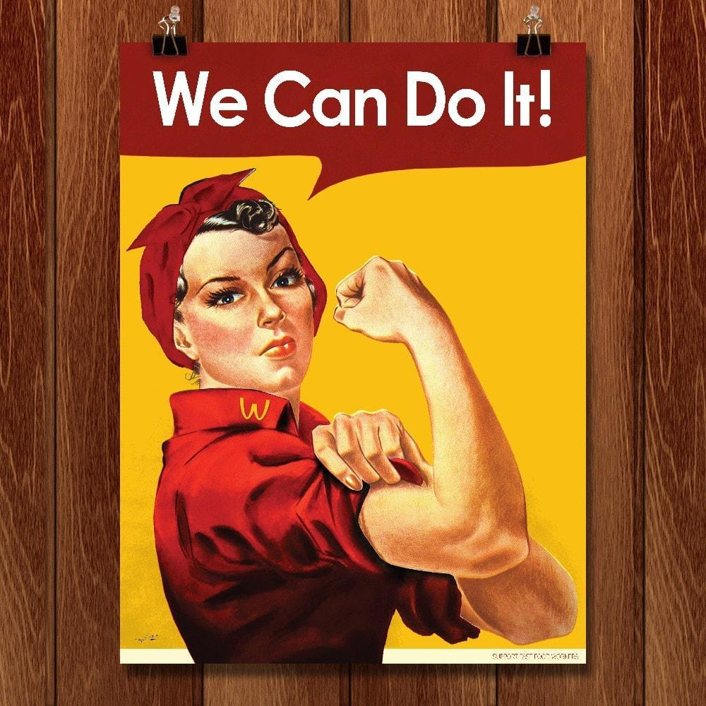 "McRosie by Kevin Bowen 12"" by 16"" Print / Unframed Print We Can Do It!"
