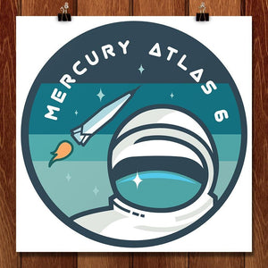 "Mercury Atlas 6 by Jennifer Brigham 12"" by 12"" Print / Unframed Print Space Horizons"