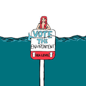 "Mermaids Against Climate Change by Cemre Koc 12"" by 12"" Print / Unframed Print Vote the Environment"