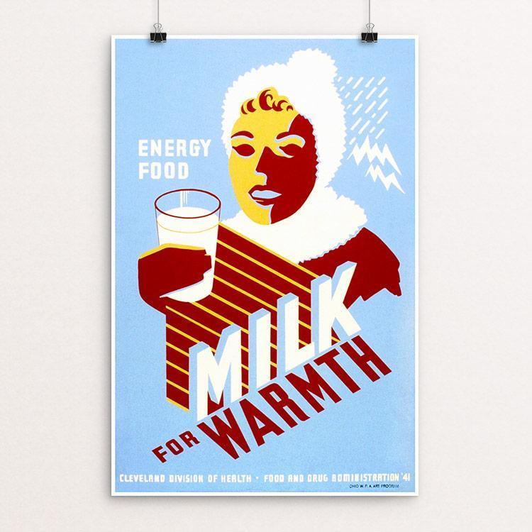 "Milk - for Warmth 12"" by 18"" Print / Unframed Print WPA Federal Art Project"