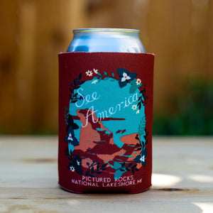 Miners Castle, Pictured Rocks National Lakeshore Koozie by Esther Licata Can Koozie Koozie See America