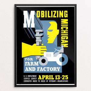 "Mobilizing Michigan for Farm and Factory by Maurice Merlin 12"" by 16"" Print / Framed Print WPA Federal Art Project"