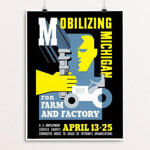 "Mobilizing Michigan for Farm and Factory by Maurice Merlin 12"" by 16"" Print / Unframed Print WPA Federal Art Project"