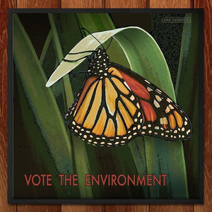 "Monarch Butterfly by Dan Gardiner 12"" by 12"" Print / Framed Print Vote the Environment"