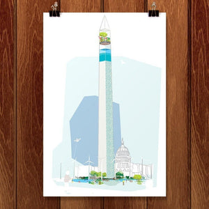 "Monument by Jon Santos 12"" by 18"" Print / Unframed Print Green Patriot Posters"