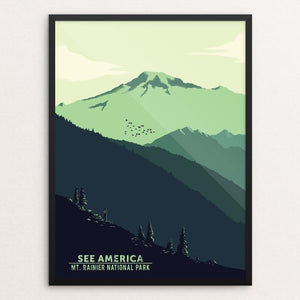 "Mount Rainier National Park by Agustin Contreras 12"" by 16"" Print / Framed Print See America"