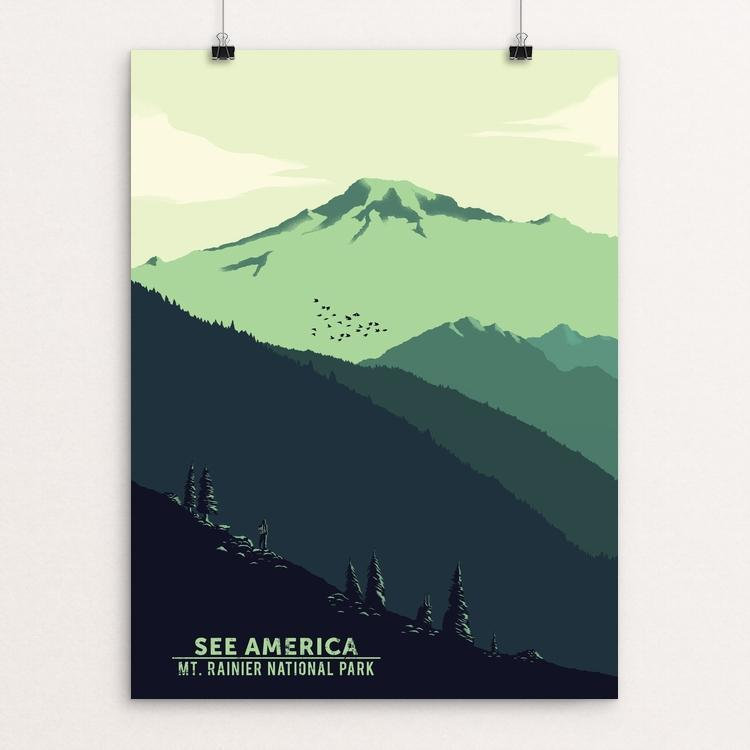 "Mount Rainier National Park by Agustin Contreras 12"" by 16"" Print / Unframed Print See America"