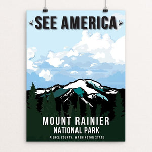 "Mount Rainier National Park by Callie Carver 12"" by 16"" Print / Unframed Print See America"
