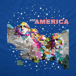 Mount Rushmore National Memorial Women's T-Shirt by Wedha Abdul Rasyid S / Blue T-Shirt See America