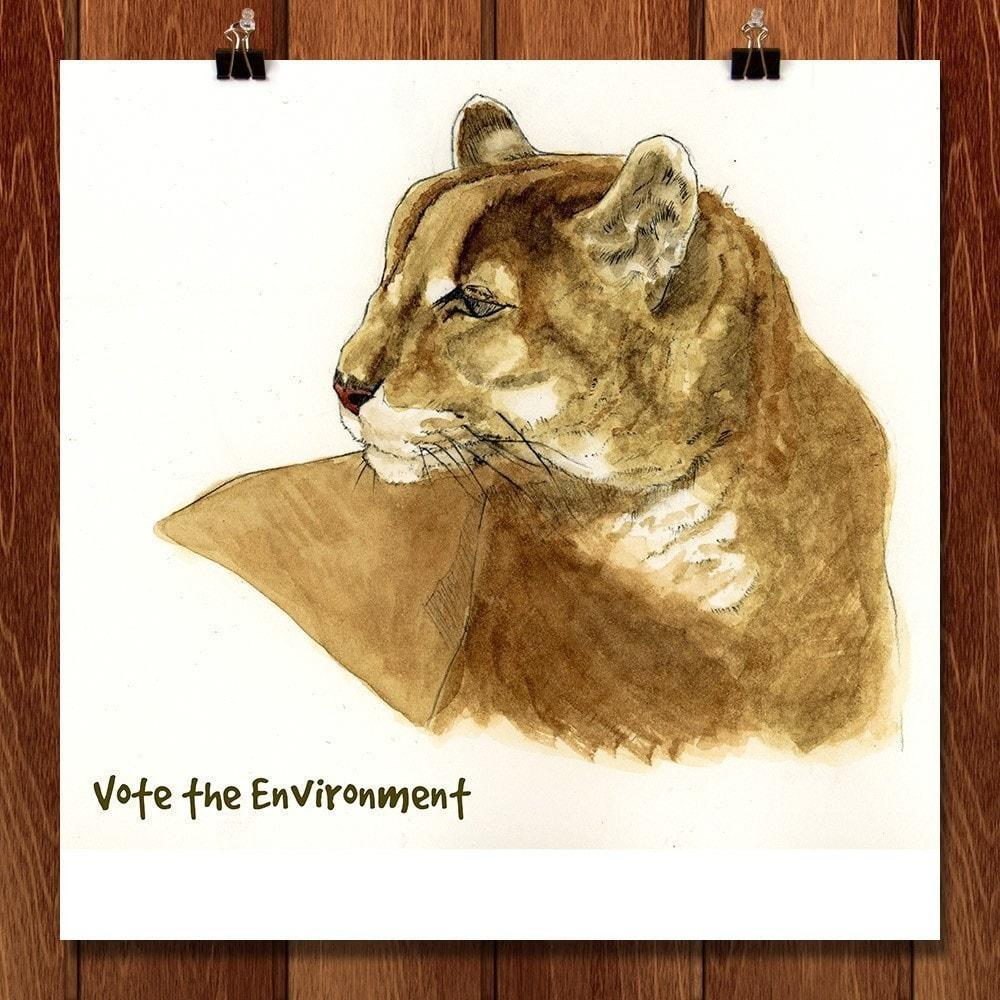 "Mountain Lion by Joel Borgerson 12"" by 12"" Print / Unframed Print Vote the Environment"