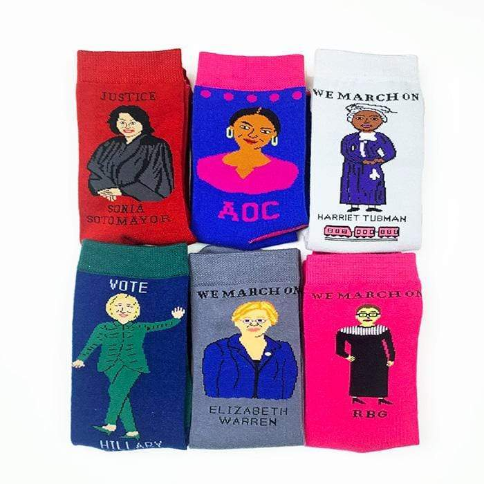 Movers & Shakers Feminist Sock 6-Pack Gift Set by Maggie Stern Socks Creative Action Network