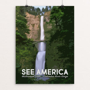 "Multnomah Falls, Columbia River Gorge National Scenic Area by Mary Stasilli 12"" by 16"" Print / Unframed Print See America"