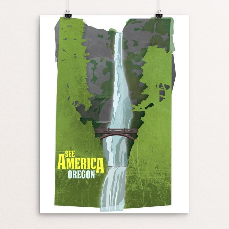 "Multnomah Falls, Lewis and Clark National Historic Trail by Design By Goats 12"" by 16"" Print / Unframed Print See America"
