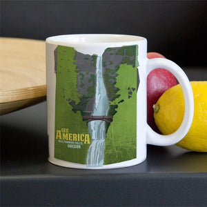 Multnomah Falls, Lewis and Clark National Historic Trail Mug by Design By Goats 11oz Mug See America