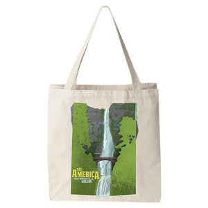 Multnomah Falls, Lewis and Clark National Historic Trail Tote Bag by Design By Goats Tote Bag See America