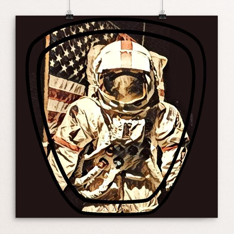 "NASA Spaceman by Bryan Bromstrup 12"" by 12"" Print / Unframed Print Space Horizons"