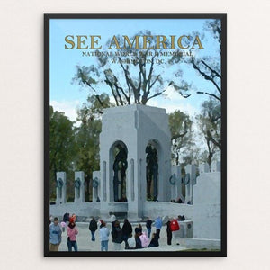 "National World War II Memorial by Andy Flynt 12"" by 16"" Print / Framed Print See America"