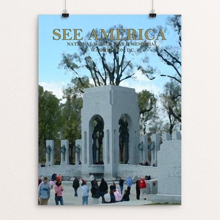 "National World War II Memorial by Andy Flynt 12"" by 16"" Print / Unframed Print See America"