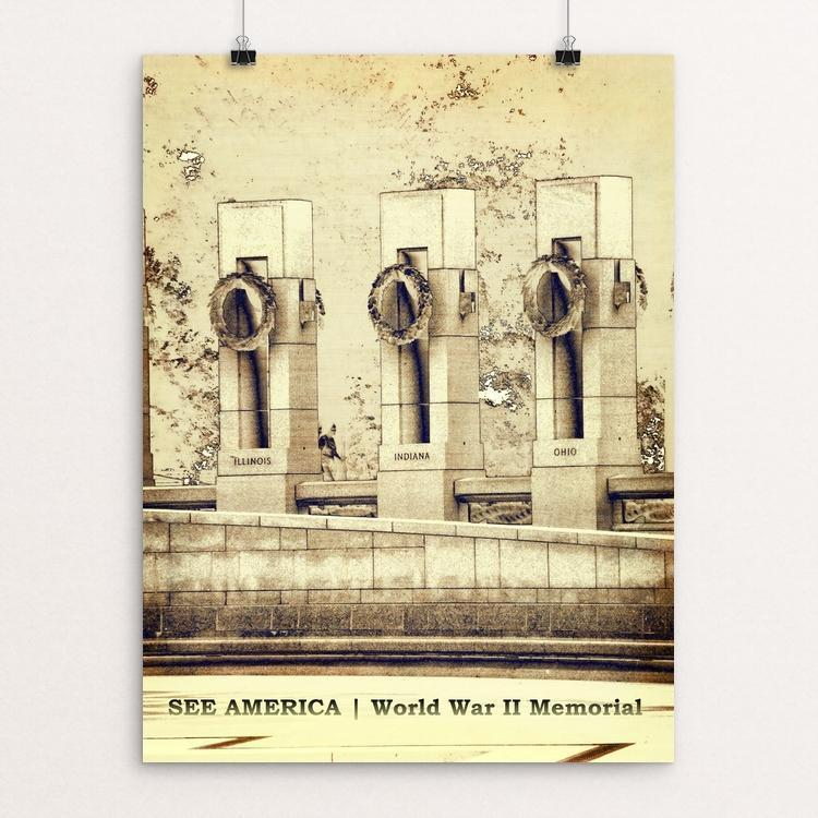 "National World War II Memorial by Bryan Bromstrup 12"" by 16"" Print / Unframed Print See America"