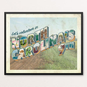 "NC-9 Swingin' Party by Liza Donovan 20"" by 16"" Print / Framed Print Postcards from America's Swing Districts"