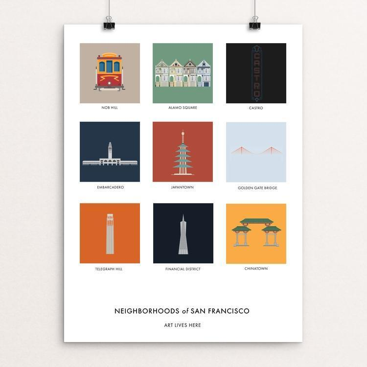 "Neighborhoods of San Francisco by Tin Dinh 12"" by 16"" Print / Unframed Print Art Lives Here"