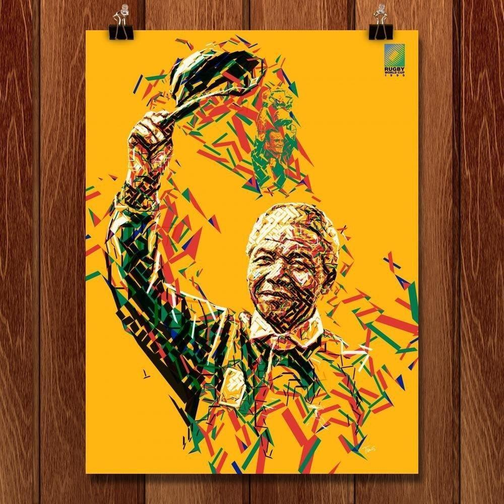 "Nelson Mandela, Rugby World Cup, 1995 by Charis Tzevis 18"" by 24"" Print / Unframed Print Transcend - Moments in Sports that Changed the Game"