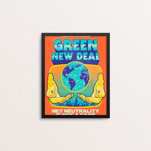 "Net Neutrality is NOT A GAME by Roberlan Paresqui 8"" by 10"" Print / Framed Print Green New Deal"